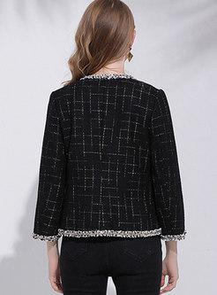 Black Crew Neck Tweed Short Coat