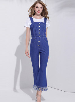 Autumn Fashion Sapphire Blue Fringed Flare Overalls