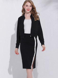 Trendy Black Zipper-front Coat & Beaded Wrap Slit Skirt