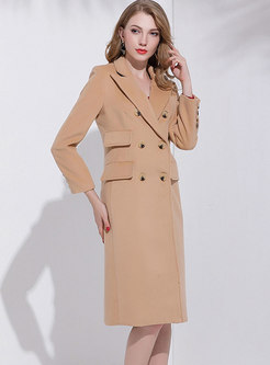 Camel Notched Cashmere Long Peacoat