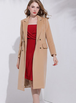 Camel Double-breasted Turn-down Collar Long Coat