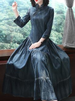 Vintage Mandarin Collar Big Hem Denim Dress