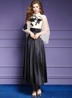 Stylish Standing Collar Long Sleeve Splicing Slim Maxi Dress