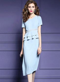 Fashion Flouncing V-neck Beaded Waist Irregular Dress