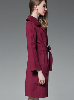 Wine Red Turn-down Collar Belted Trench Coat