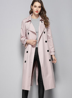 Fashionable Turn-down Collar Slim Cotton Trench Coat