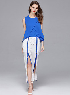 Chic Blue Falbala Top & Casual High Waist Slit Wide Leg Pants