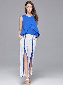 Chic Blue Falbala Top & Casual High Waist Slit Wide Leg Pants