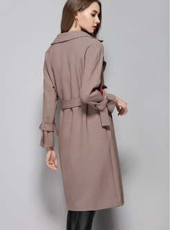 Notched Lapel Straight Plaid Trench Coat