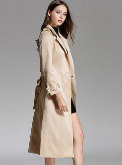 Trendy Khaki Slim Belted Lapel Knee-length Trench Coat