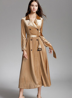 Chic Lapel Double-breasted Slim Long Trench Coat