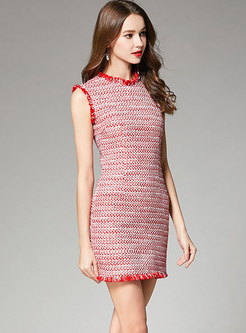 Pink Sleeveless Textured Sheath Dress With Rough Selvedge