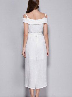 Chic Slash Neck White Self-tie Jumpsuit With Lining