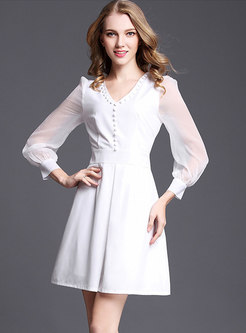 White V-neck Long Sleeve Skater Dress With Pearl Embellishment