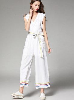 Stylish White V-neck Sleeveless Wide-leg Jumpsuit