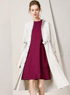 Pure Color Standing Collar Tie-waist Slim Trendy Coat
