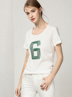Casual O-neck Cotton Sequined Slim T-shirt
