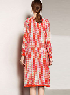 Loose Grid O-neck Knitted Dress