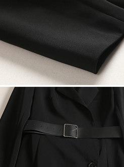 OL Black Lapel Long Sleeve Belted Irregular Hem Dress
