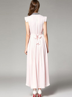 Elegant Pink Stand Collar Tie-waist Pleated Maxi Dress