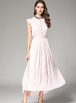 Elegant Pink Stand Collar Tie-waist Pleated Maxi Dress