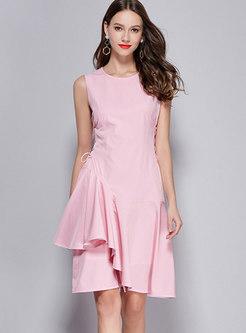 Pink Sleeveless Gathered Waist Asymmetric Dress With Drawstring