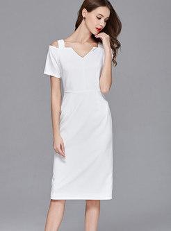 Sexy White Slash V-neck Off Shoulder Sheath Dress