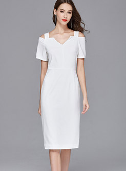 Sexy White Slash V-neck Off Shoulder Sheath Dress