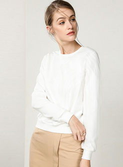 Mesh Splicing Solid Color O-neck Knitted Sweater