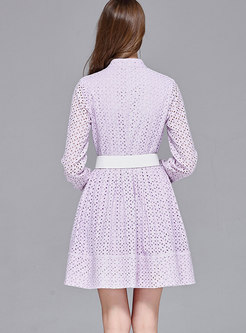 Light Purple Stand Collar Embroidered Lace Hollow Out Dress