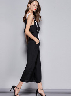 Casual Off Shoulder Falbala Patchwork Jumpsuit With Metal Decoration