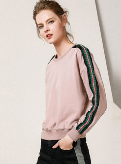 Casual Striped Splicing O-neck Sweatshirt