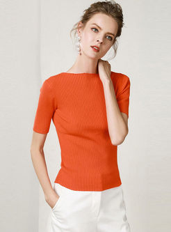 Solid Color Slash Neck Slim Knitted T-shirt