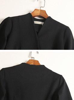 Elegant Black V-neck Cinched Waist Skater Dress