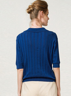 Solid Color Lapel Tied Pullover Half Sleeve Knitted Top
