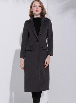 Deep Grey Lapel Wool Slim Double-breasted Long Coat
