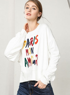 Casual Loose Letter Print Slit Sweatshirt