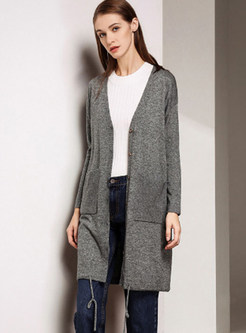 V-neck Zip-up Long Sleeve Knitted Coat