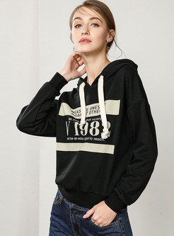 Casual Hooded Tied Letter Print Loose Sweatshirt