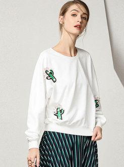Fashionable Embroidered O-neck Loose Sweatshirt