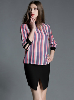 Standing Collar Three Quarters Sleeve Striped Chiffon Blouse