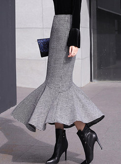 Trendy Woollen Plaid Flouncing Bodycon Skirt