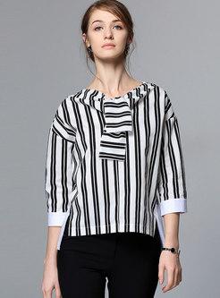 Stylish Striped Three Quarters Sleeve Chiffon Blouse