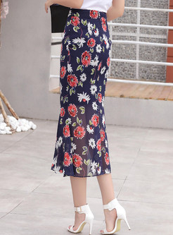 High Waist Chiffon Floral Sheath Mermaid Skirt