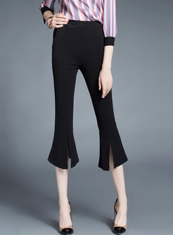 72dd7073bda5 Solid Color Plus Size Three Quarters Flare Pants