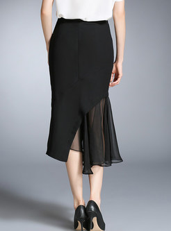 Stylish Mesh Splicing Sheath Irregular Skirt