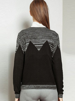 Trendy Black Color-block O-neck Sweater Coat