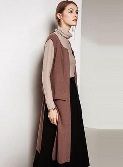 Camel Sleeveless Loose Vest Asymmetric Knitted Cardigan