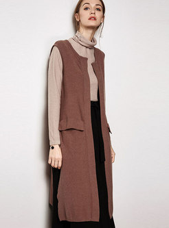 Camel Sleeveless Loose Vest Asymmetric Knitted Cardigan