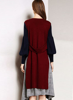 Fashion Wine Red Sleeveless Loose Vest Knitted Cardigan